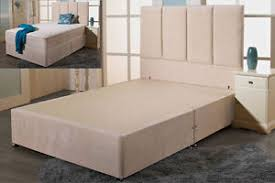 Double 4ft6 Chenille Divan Bed Base Cream Grey Charcoal