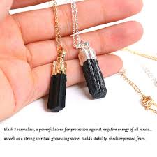 aliexpress crystal necklace images New gold silver color dipped black tourmaline pendant necklace raw jpg