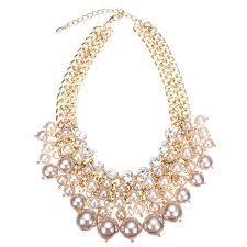 gold plated statement necklace images Multilayer pearl bead crystal collar necklace gold plated chain jpg