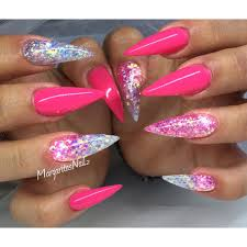 pink and glitter ombré stiletto nails summer nail design