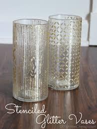 Dollar Cylinder Vases Stenciled Glitter Vases Erin Spain