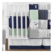 Jojo Crib Bedding Sweet Jojo Designs Woodsy Collection In Navy Mint And Grey 9