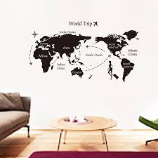 World Map Stencil by Creative Home Decor World Map Atlas Wall Sticker Black Printed