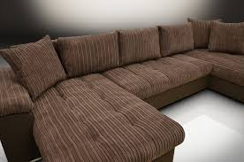 CHAISE CORNER SOFA BED GROUP ERIC LH CORD FABRIC BROWNTWILL - Chaise corner sofa bed