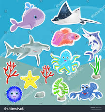 under sea animals vector graphic cute stock vector 288814226