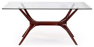 sputnik midcentury modern dining table walnut legs and glass top