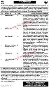 Cad Technician Balochistan Integrated Water Resource Management And Development