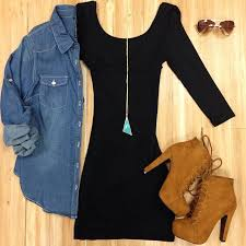 tight black dress with denim jacket over on the hunt