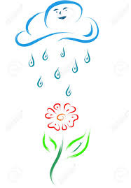 sketch of a flower and a cloud with rain water drops royalty free