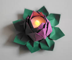 Lotus Blossom Origami - tealight origami water lotus blossom flower one