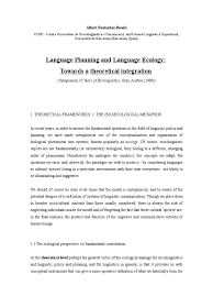 language planning and language ecology towards a theoretical