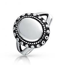 silver rings vintage images Engravable vintage style womens oval beaded sterling signet ring jpg