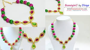 necklace designs making images How to make designer silk thread necklace silk thread jewellery jpg