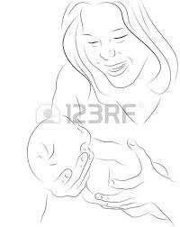 hand drawn silhouette of mother and a baby royalty free cliparts