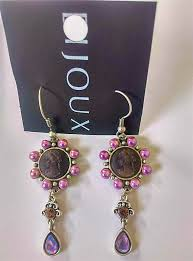purple drop earrings purple cameo drop earrings code 2357