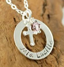 baptism jewelry personalized baptism gift birthstones sterling silver cross