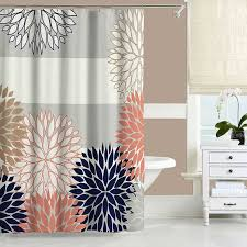 Navy And Pink Curtains Dahlia Shower Curtain Navy Blue Pink Gray Shower Curtain Modern