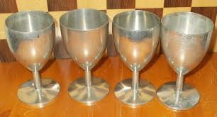 set of 4 pewter goblet wine drinking glasses special toast
