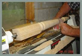 woodturning long table leg concludes in this section of the