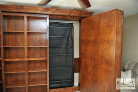 bookcase murphy bed sliding bookcase plans wall shelves bedroom