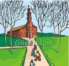 walking down a path to a church royalty free clipart picture