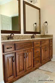 red oak wood classic blue shaker door kitchen and bathroom