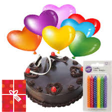 balloons and chocolate delivery online 38 one kilo chocolate cake birthday candle and card and heart