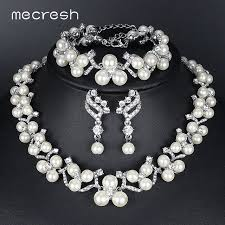 wedding jewelry mecresh simulated pearl bridal jewelry sets 2017 new wedding