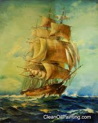 1940 s clipper ship painting partially cleaned