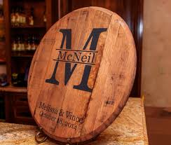 monogrammed wedding gift bourbon barrel monogram and last name personalized great
