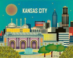 Kansas destination travel images Love these city prints kansas city skyline missouri jpg