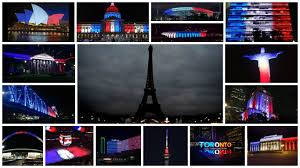 photos iconic buildings world wide light up in french flag