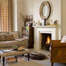 elegant white fireplace for classic living room ideas with brown