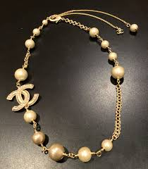 pearl bracelet with gold chain images Gorgeous chanel cc pearl resin short necklace choker gold chain jpg