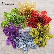 Glitter Christmas Decorations by 1pcs 2017 Christmas Decorations For Home Glitter Hollow Flower