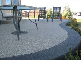 Cover Cracked Concrete Patio by Exposed Aggregate Traditional Color Inset With Black Aggregate