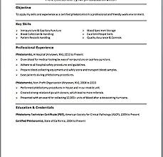 Phlebotomy Resume Phlebotomist Resume Objective Resume For First Job Examples