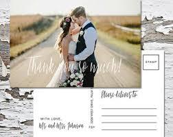 wedding thank you postcards thank you print etsy
