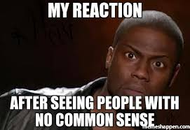 Common Memes - my reaction after seeing people with no common sense memes