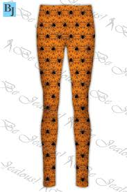 womens halloween pumpkin stretchy leggings ladies pants spider web