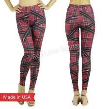 Red Plaid Tartan Check Zipper Print Punk Rock Goth Leggings Tights