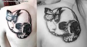 of skulls shoulder blade butterflies