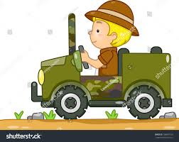beach jeep clipart illustration boy safari driving camouflage stock vector