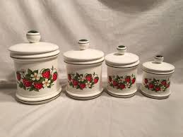 vintage sears strawberry country kitchen canister set set of 4