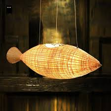 Japanese Chandeliers Bamboo Wicker Rattan Fish Chandelier Light Fixture Decoration