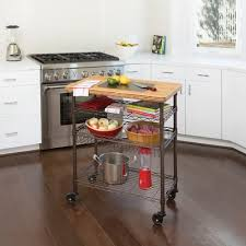Winston Porter Ondina Bamboo Top Chefs Table Kitchen Cart Wood - Kitchen cart table