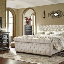 Tufted Sleigh Bed King Bedroom Kaydian Belford Oatmeal Upholstered Sleigh Bed