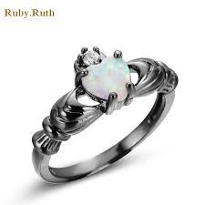 black gold wedding rings wedding heart rings blue jewelry women men engagement band