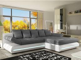 vente unique canap d angle canapé d angle convertible mattias en tissu et simili à leds blanc