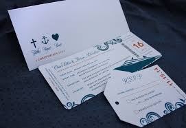 cruise wedding invitations orange blue swirl cruise ship boarding pass luggage tag